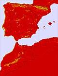 Péninsule Ibérique temperature map