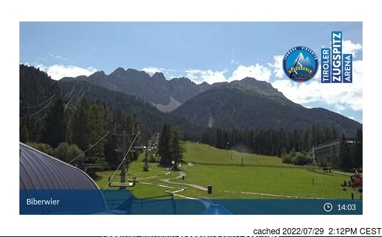 Biberwier webcam at lunchtime today