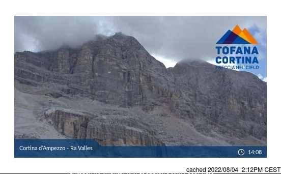 Cortina webcam all'ora di pranzo di oggi