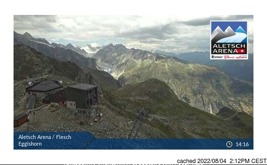 Fiesch - Eggishorn - Aletsch webcam at lunchtime today