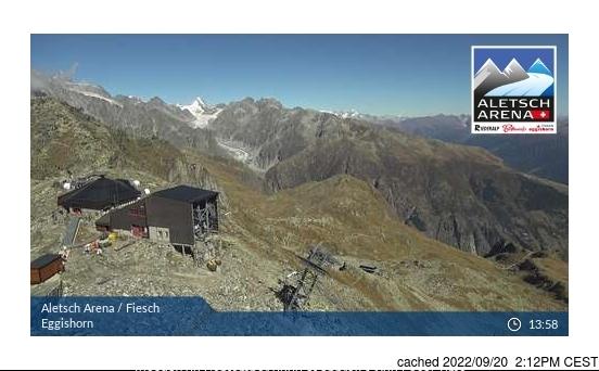 Fiesch - Eggishorn - Aletsch webcam alle 2 di ieri sera