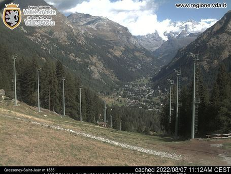 Gressoney-Saint-Jean webcam at lunchtime today