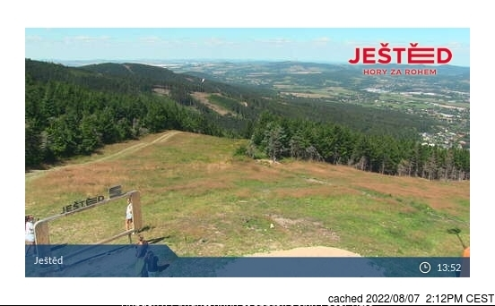 Ještěd webcam at 2pm yesterday
