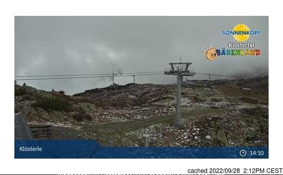 Klösterle/Sonnenkopf webkamera ze včerejška ve 14 hod.