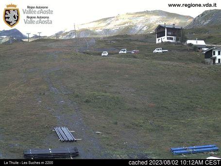 La Thuileの雪を表すウェブカメラのライブ映像