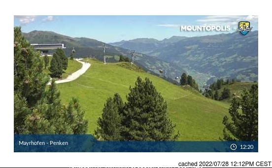 Mayrhofen webcam at lunchtime today