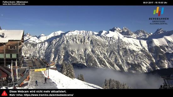 Oberstdorf-Fellhorn webcam op lunchtijd vandaag