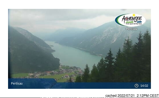 Pertisau am Achensee webkamera ze včerejška ve 14 hod.