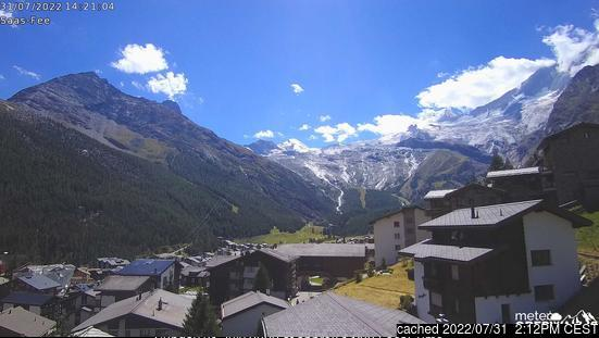 Saas Fee webcam at lunchtime today