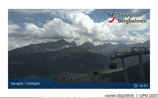 Savognin webcam at lunchtime today