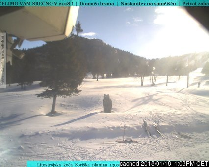 Soriska Planina webcam at lunchtime today