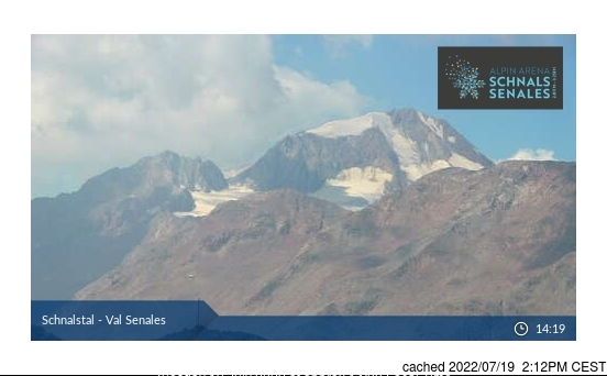 昨日午後2時のVal Senales (Schnalstal)ウェブカメラ