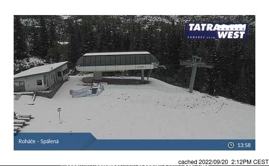 Roháče - Zverovka/Spálená dolina webkamera ze včerejška ve 14 hod.